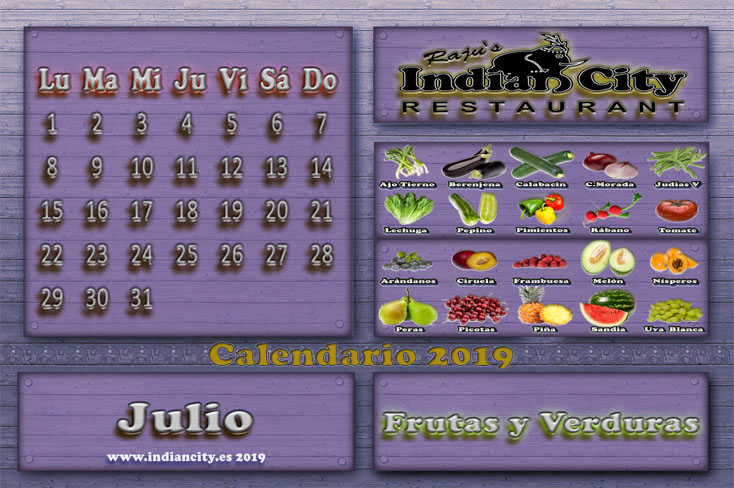 Calendario de Temporada RajusIndianCity 2019 - Julio