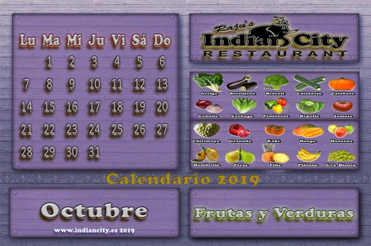 Calendario de Temporada RajusIndianCity 2019 - Octubre